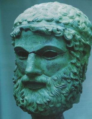 Testa di filosofo bronzea